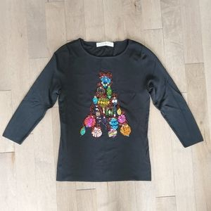 Colorful Christmas sweater with sequins and beads